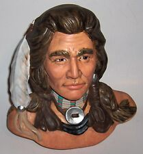 Large Ceramic Naitave American Ceramic Head  Bust (head dress) Hand Painted