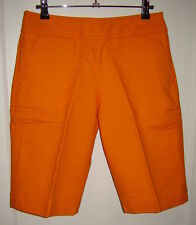 COMO SPORT Tangerine Orange Textured Stretch Cotton Bermuda Shorts (6)