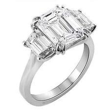 3.04 Ct. 3 Stone Emerald Cut Diamond Ring Engagement Ring Platinum 950 G,VS1