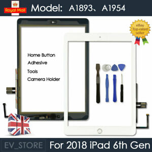 For 2018 iPad 6th Gen A1893 A1954 Touch Screen Digitizer Replacement White + IC