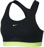 Nike 171172 Womens Motion Adapt Racerback Sports Bra Black/Glow Size Small