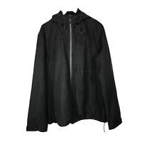 Tu Mens Black Rain Jacket Size XL Full Zip Hooded Pockets Coat