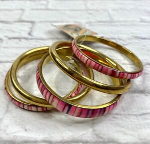 5 Bangle Bracelets Pinks Brass ? New With Tags Made In India Matr Boomie