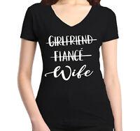 Girlfriend Fiance Wife Women's V-Neck T-shirt Wedding Bachelorette Party Tee