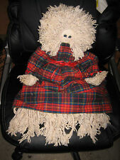 """Large 26"""" Long Handmade Girl Mop Doll With Plaid Dress"""