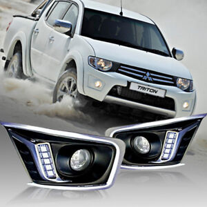 DAYLIGHT LED DAYTIME RUNNING LIGHT FIT FOR MITSUBISHI TRITON L200 2009-2013