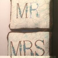 "Mrs & Mr Custom Made Embroidered Quilted Pillow 20"" X 16"" Set of 2"