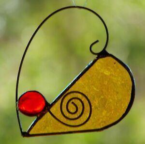 YELLOW GOLD & RED HEART Stained Glass SUNCATCHER + Metal Scrolls Gift Under $20