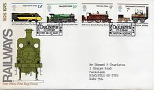 1975 Sellos Trenes Ferrocarriles primer día cubierta Spec Darlington billete PMK Ref:PP90