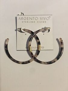Argento Vivo Hoops 14K Gold Plated Sterling Silver Faux Tortoise Shell White NEW