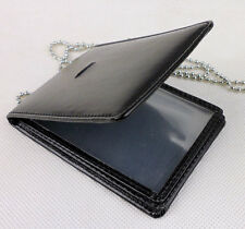 Black Leather Badge ID Card Wallet Holder Case With Neck Chain-D647