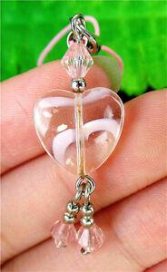 14x14x6mm Pink Millefiori Glass Love Heart Phone Accessories Chain AP15027