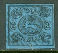 Germany 1853 Braunschweig 2 sGr Black/Blue SG #8 VFU G141 ⭐⭐⭐⭐⭐⭐