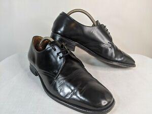Loake Bros Men's Black leather Derby Shoes size UK 8.5 high shine back leather