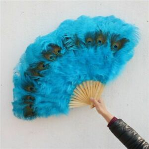 Large Size Ostrich Feather Fan Carnival Party Show Decorative Craft Peacock