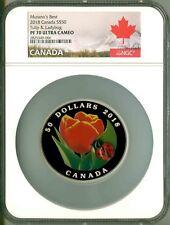 2018 Canada S$50 5 Oz. Murano's Best Tulip & Ladybug Murano Glass NGC PF70 UC