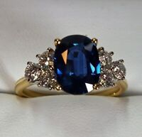 Ct Oval Blue Sapphire Syn Diamond Engagement Art Deco Ring Yellow Gold FN Silver