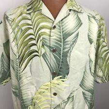 Tommy Bahama Floral Hawaiian Aloha Size Large Green Palm Leaves