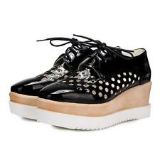 Womens Gladiator Hollow Out Lace Up Wedge Creepers Brogue Oxfords Shoes New Heel