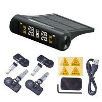 LCD Car Wireless Solar Power TPMS Tire Tyre Pressure Monitoring System+4 Sensors