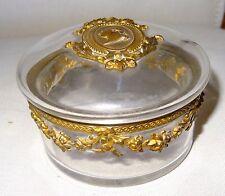 Boite en cristal monture bronze au médaillon profil de Louis XVI XIXe