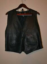 BLACK MEN'S REAL GENUINE LEATHER PELLE WAISTCOAT/VEST CHEST 39-41 Ex.cond