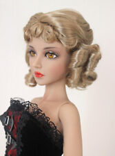 "1/3 bjd 8-9"" doll head dark beige curly wig dollfie Luts Iplehouse JD380SM4BL"