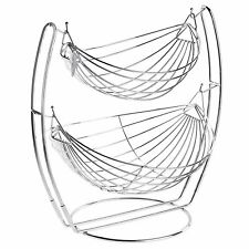 Chrome Double Hammock 2 Tier Fruit/Vegetables / Produce Metal Basket Rack