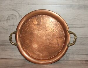 Vintage hand made wrought copper round serving tray platter with brass handles