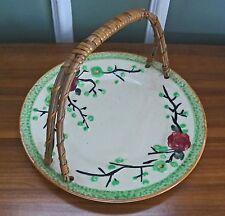 Ceramic Plate Handle Basket Japan Jade Rose Blossoms Dish Centerpiece Marked VTG