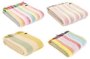 Rainbow Stripe 100% Wool Herringbone Blanket Throw Rug Made in UK by Tweedmill
