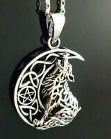 Sterling Silver 925 Oxidised Crescent Moon Wolf Celtic Star Pendant Necklace