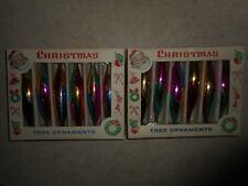 12 VTG Poland Rainbow & Glitter Icicle Teardrop Glass Christmas Ornaments PRETTY