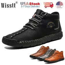Mens Hiking Loafers Dress Casual Mid Ankle Boots Durable Leather Comfort Shoes