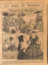 Tailleur Veste Jupe Jersey Rose Toque Ombrelle Soie Mode Paris Fashion WWI 1916