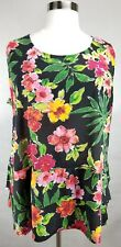 CATHERINES BLACK PINK FLORAL PRINT SLEEVELESS TIERED KNIT TOP PLUS Sz 2X 22/24W