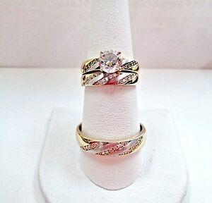 AF7 14K Gold lab-Diamond Trio Engagement Ring & Wedding Bands Set YOO 7.5 & 12.5