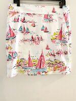 Talbots Petites Sailboat Skirt White Pink Pencil Pockets Womens Size 10 P