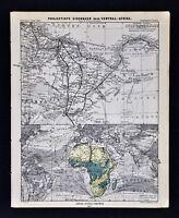 1877 Petermann Mittheilungen Map Africa Railroad Tripoli Libya Sabha Murzuq Tsad