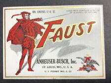 Prohibition Faust Anheuser Busch Beer LabeI St Louis Mint  Devil L Permit 1920s