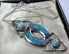 VINTAGE DESIGN SIGNED MIRACLE JEWELLERY SCOTTISH CELTIC TURQUOISE DROP NECKLACE