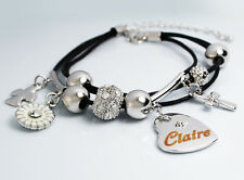 Genuine Braided Leather Charm Bracelet With Name - CLAIRE - Gifts for her