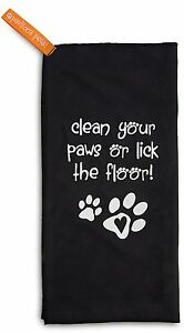 Clean Your Paws Or Lick The Floor Microfiber Cleaning Cloth New Black Paw Prints