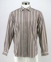 Bugatchi Uomo Dress Shirt Size Medium White Brown Striped Flip Cuff Classic Mens