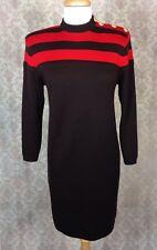 St John Marie Gray Women's Vintage Brown/Red Striped Shift Sweater Dress Sz 4