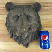 Large Resin Faux Bear Head Bust - Grizzly Bear Head - Log Cabin Lodge Wall Decor