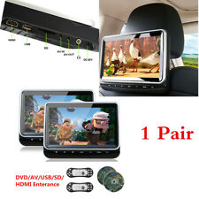 1 Pair 10.1'' Car Rear Entertainment Headrest DVD Player Monitor 2 Ways Output