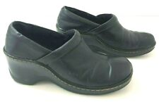BOC Womens 7.5M Clogs Mules Black Leather Wedge Heel