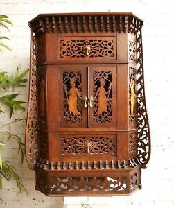 Antique Victorian Edwardian Folk Art Fretwork 2 Drawer Unit Corner Curio Cabinet