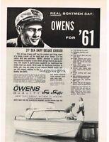 1961 OWENS 27' Sea Skiff Cruiser Boat Rugged Captain 1960 Vtg Print Ad